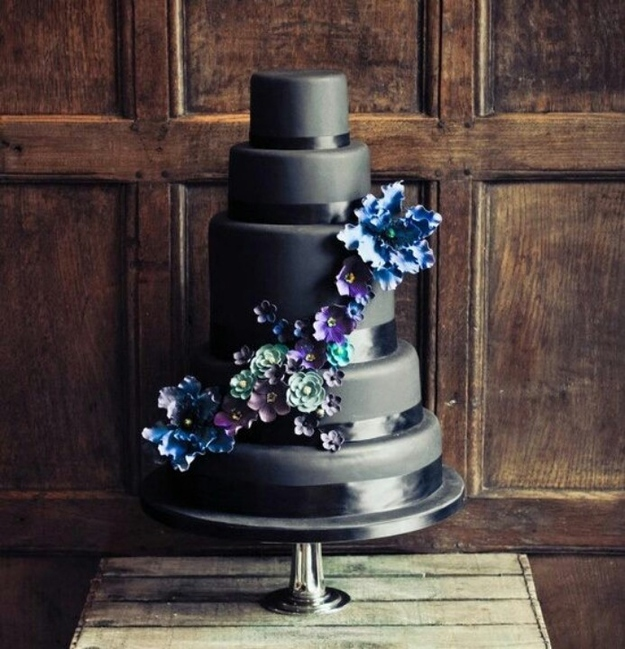 elegant black wedding cake