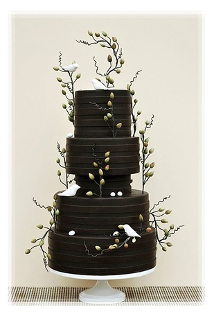 black cake wedding cake