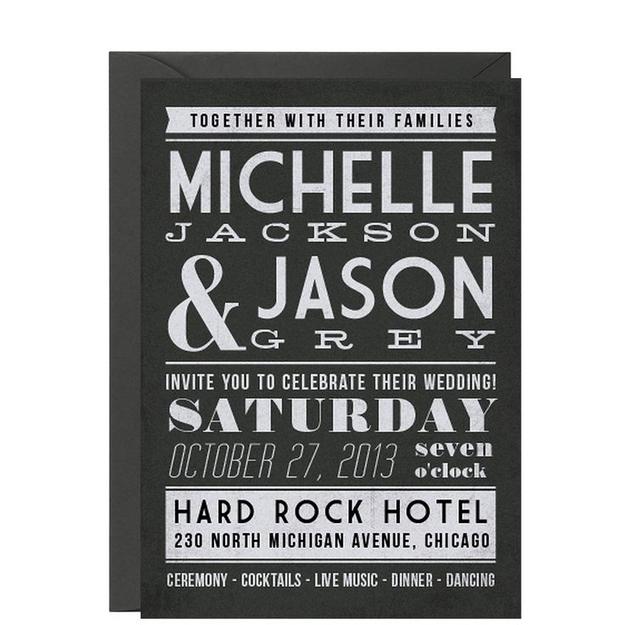 outstanding monochrome wedding invitation