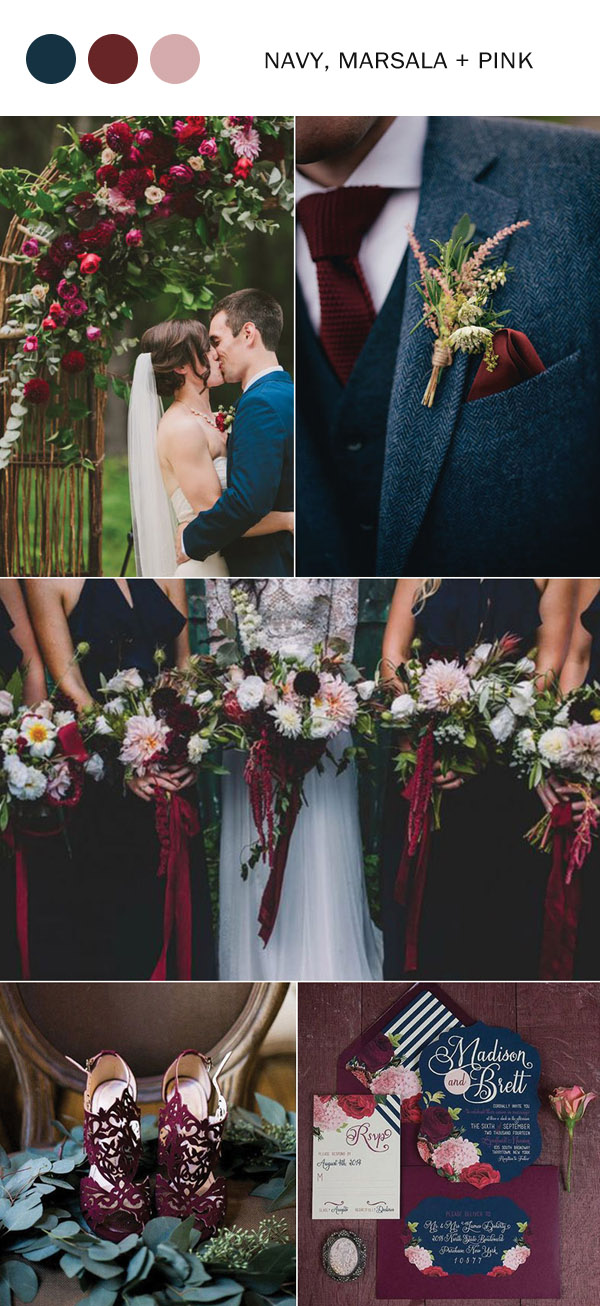 fall-wedding-colors-navy-blue-marsala-and-pink