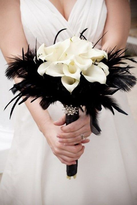 elegant calla lily with feather