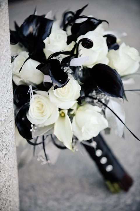 black and white lily bouquet