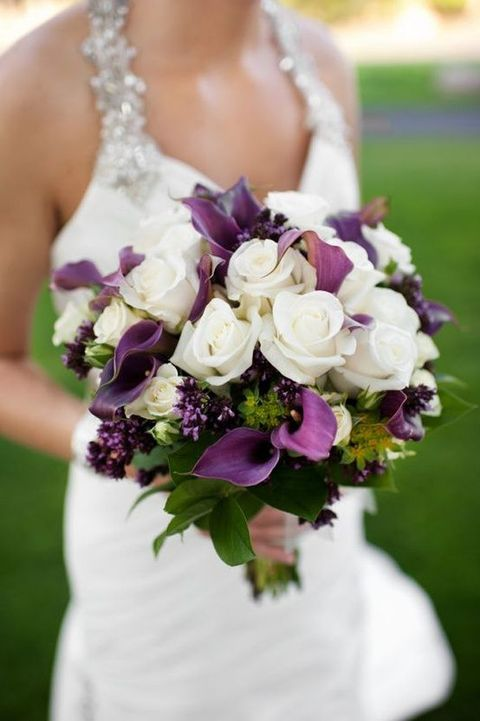 cheerful white lily wedding bouquet