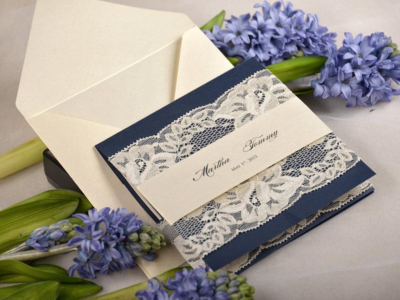 rustic blue wedding card