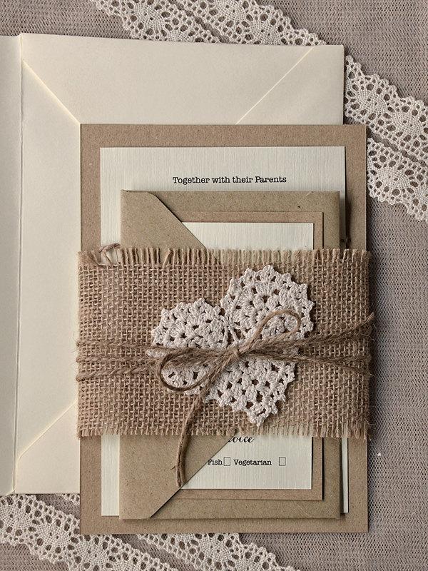 cute rustic wedding card