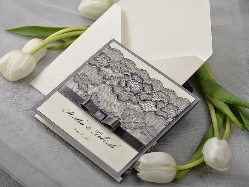 gray wedding invitation