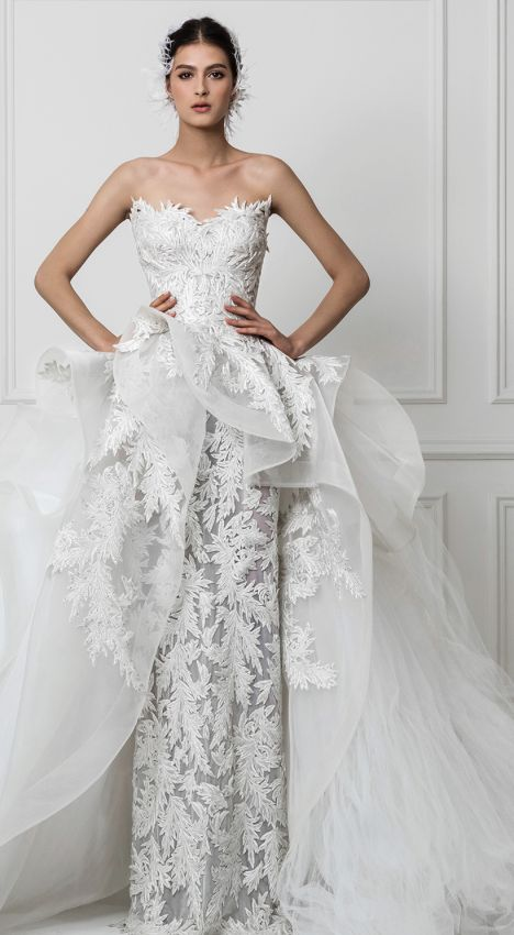 chic elegant waist wedding gown