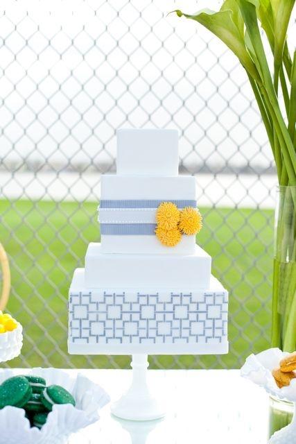 cute blue cake wedding