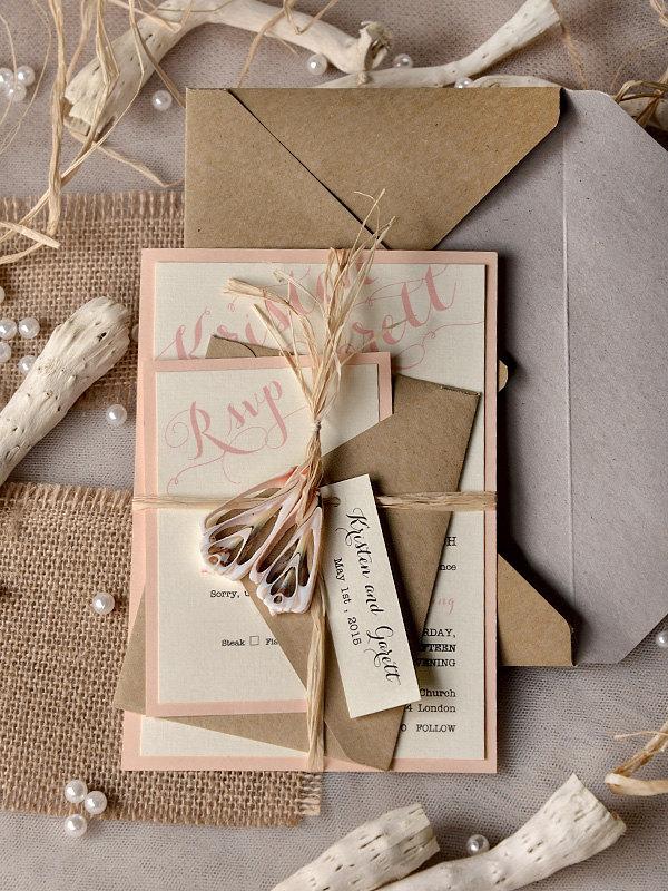 wedding invitation with rustic design