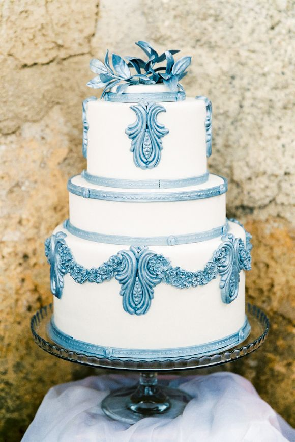 blue wedding cake garnish