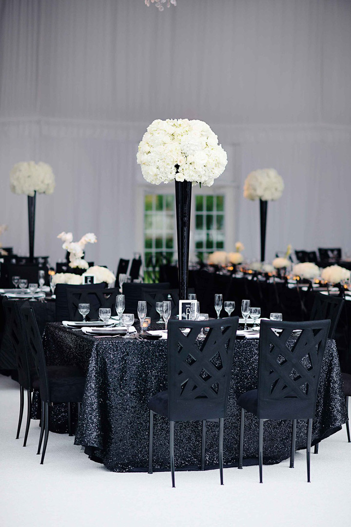 Elegant Black And White Wedding Theme Includes With Decorations