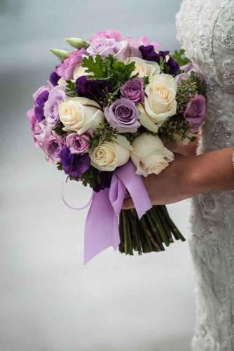 beautiful wedding bouquet with purple