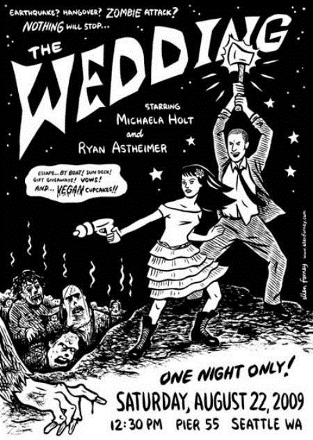 black and white weeding invitation