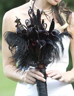 black leather wedding bouquet
