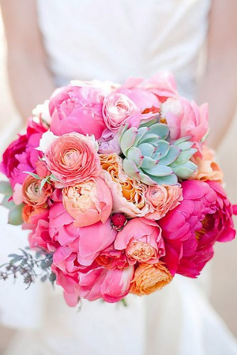 pink spring wedding bouquet