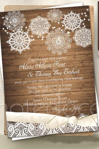 Elegant Winter Wedding Invitations Ideas With Snowflake and Chic Decor