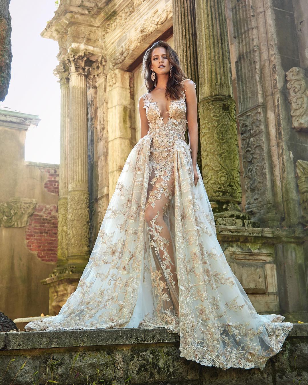 white and gold glamor wedding dress
