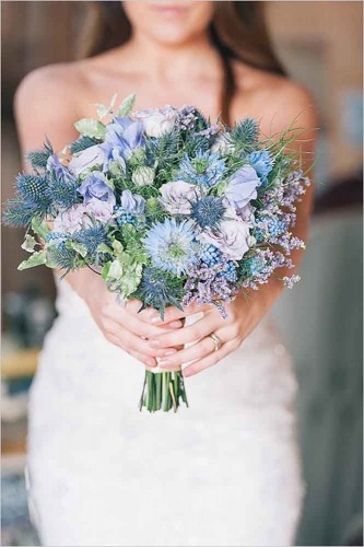 awesome blue wedding bouquet