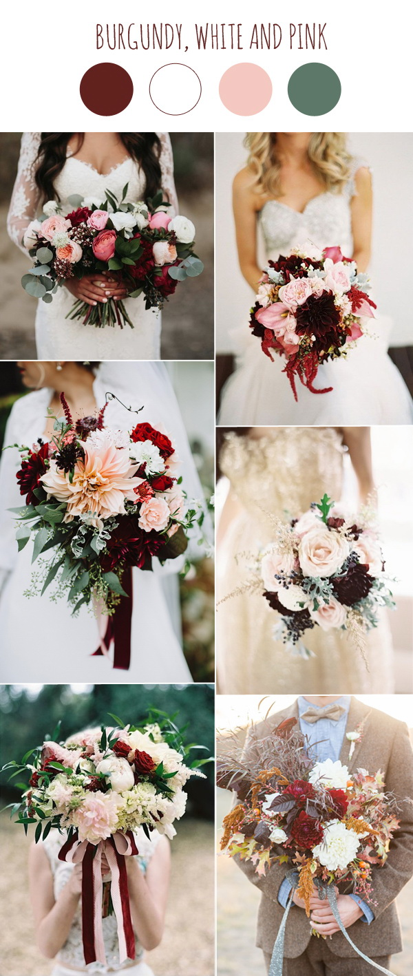 burgundy-white-and-pink-wedding-bouquets-ideas