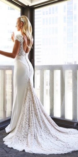 cap-sleeve-low-back-lace-vintage-wedding dress