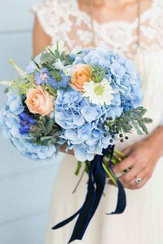 chic blue wedding bouquet