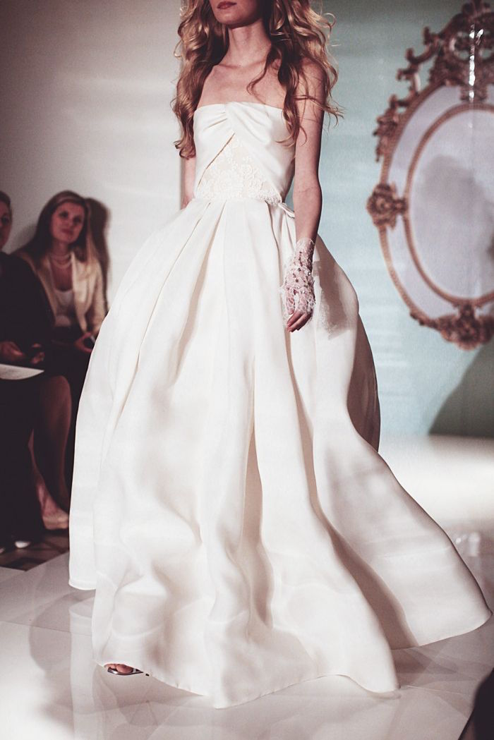 classic wedding dress with open shoulder model