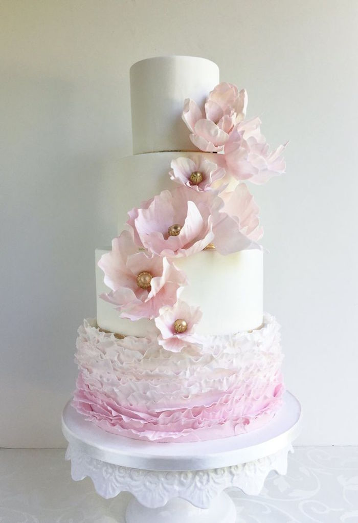cute pink wedding cake