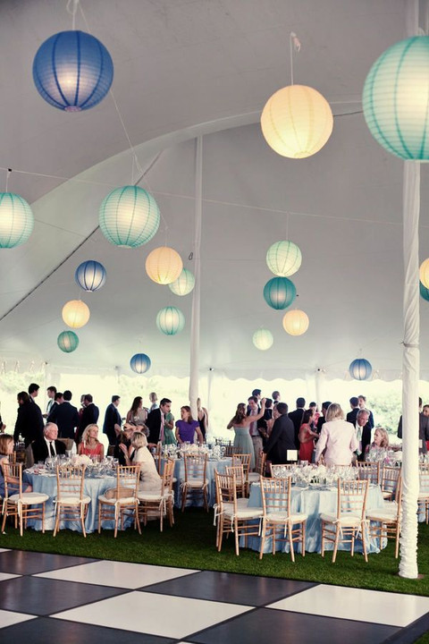 blue lantern wedding decor