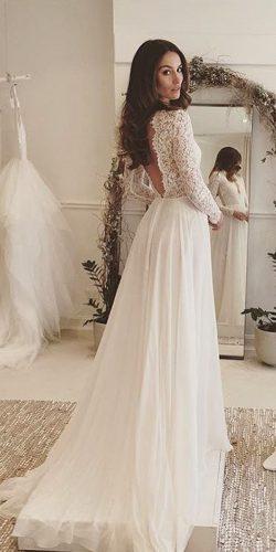 long sleeve ructic wedding dress