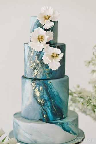 marble metallic wedding cake