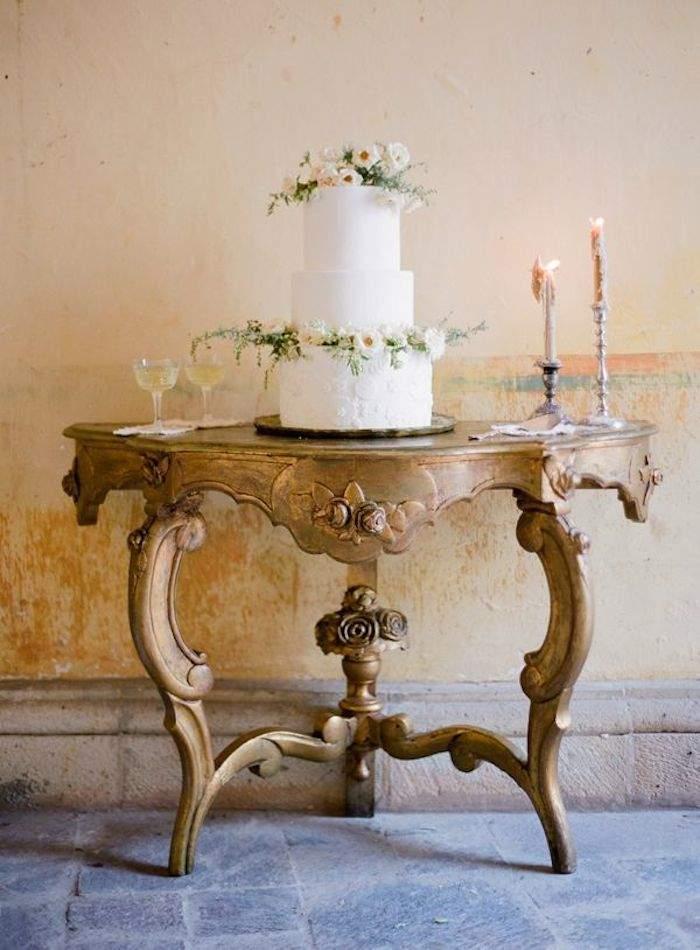 simple white rustic wedding cake