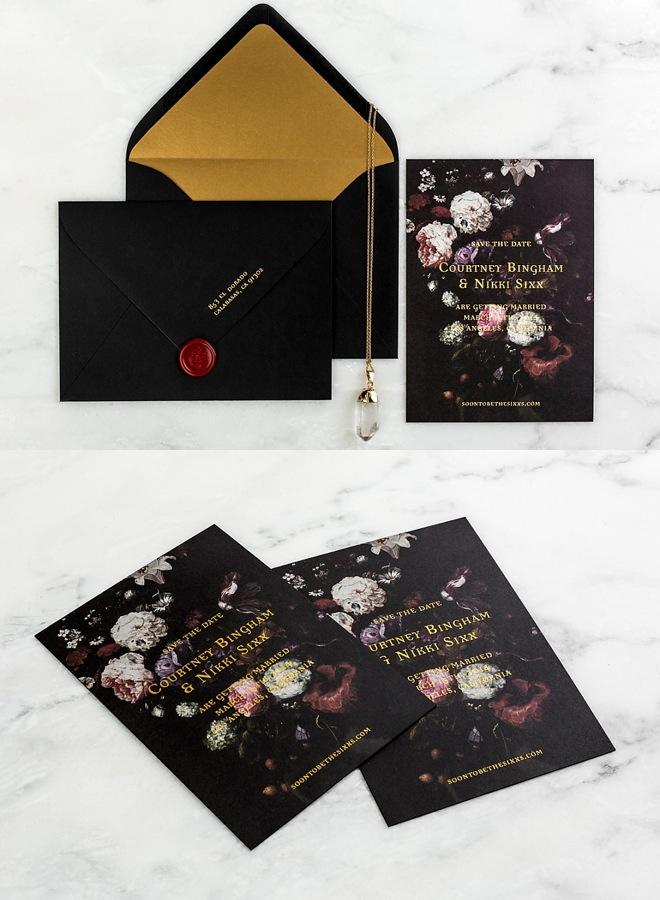 elegant black wedding card