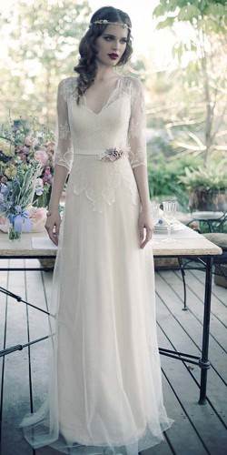 simple wedding dress with vintage model