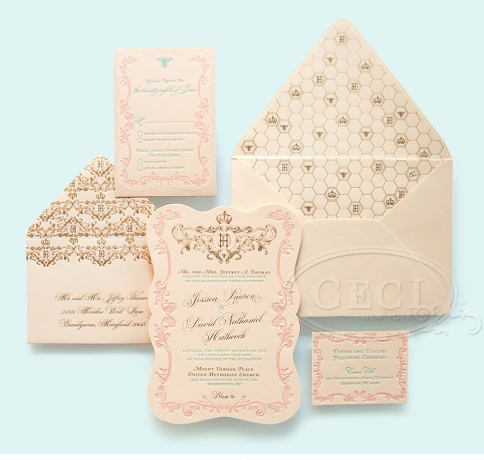 soft unique wedding invitation