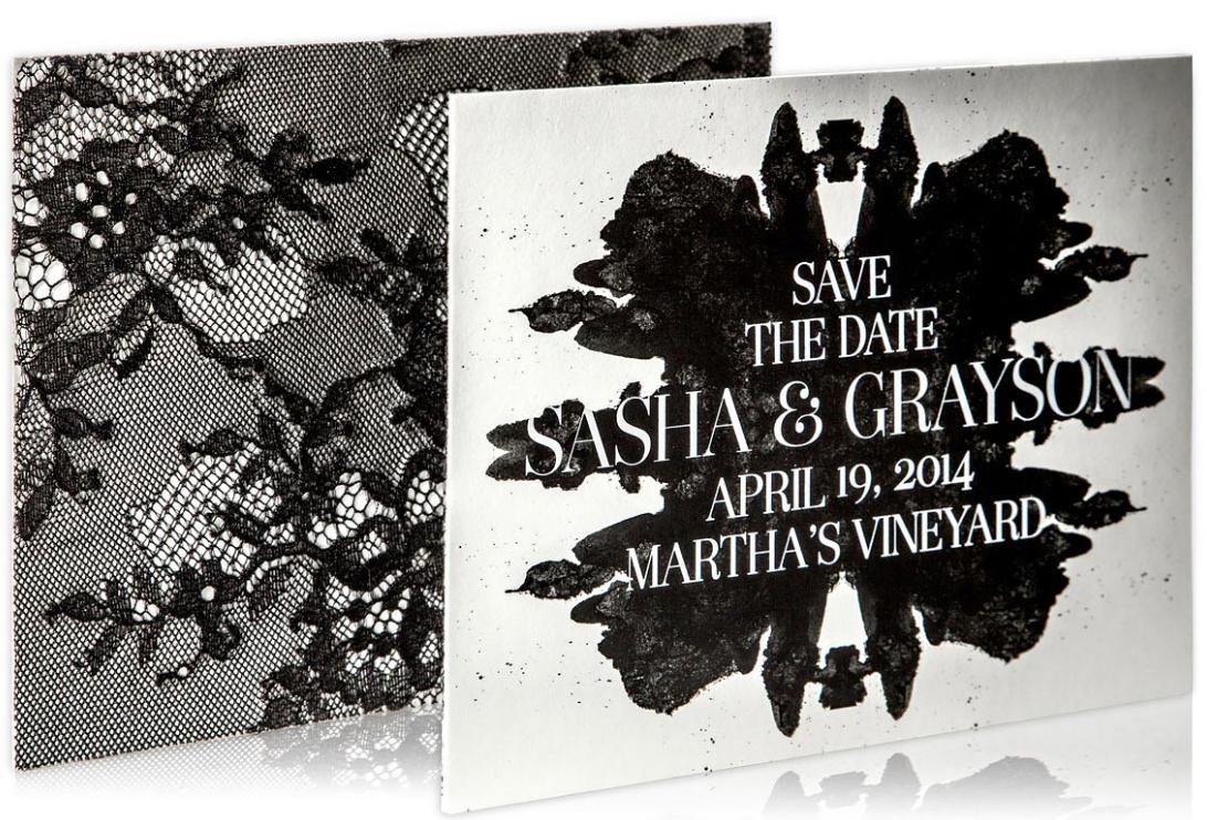 monochrome wedding invitation design