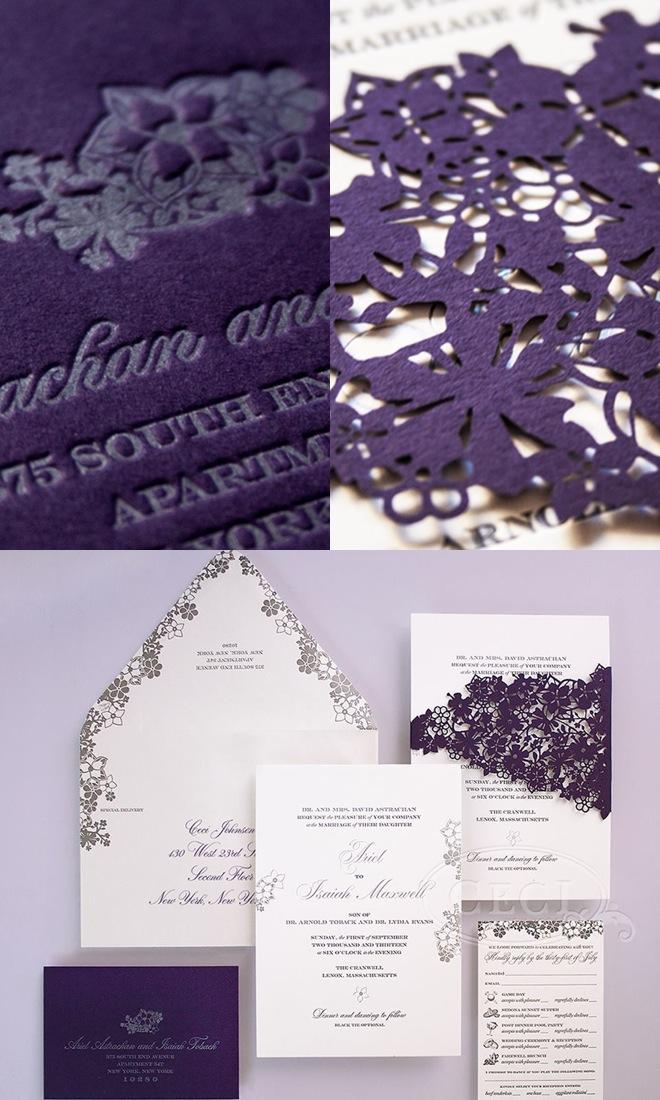 purple unique wedding inviitation