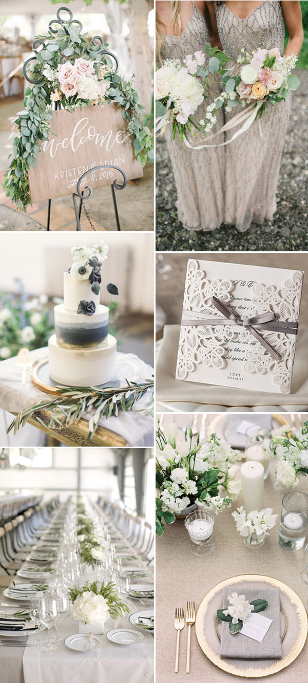 Neutral Grey And Green Wedding Colors Ideas