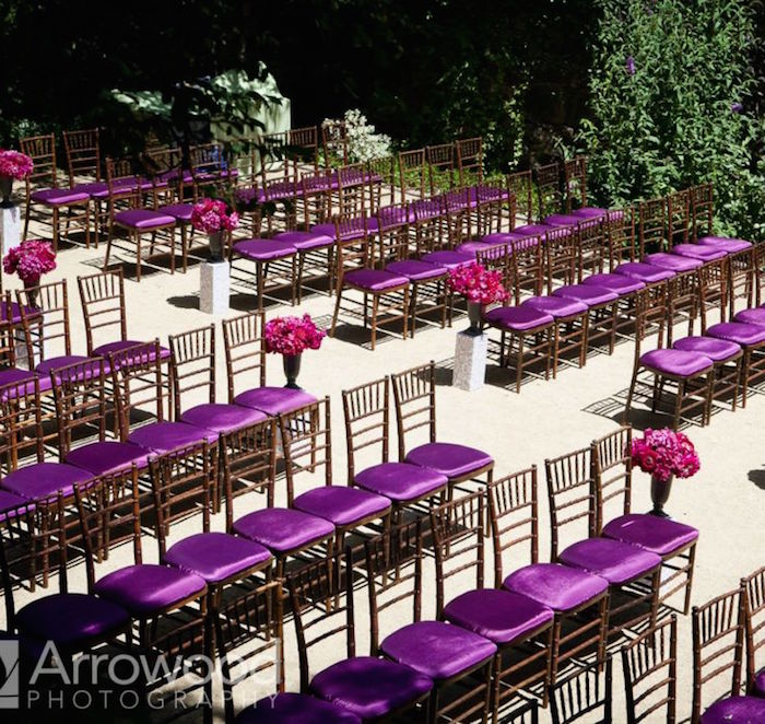 purple color wedding decor
