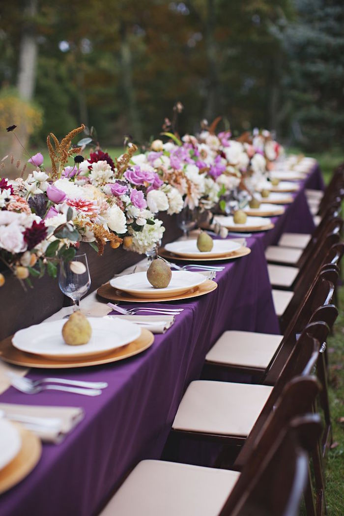 purple table set wedding