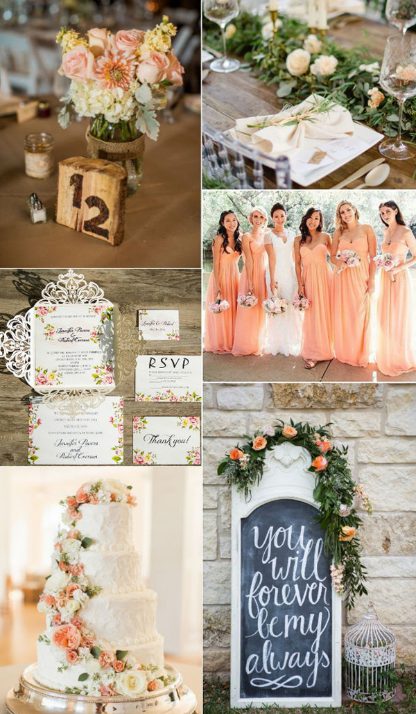 romantic-peach-flower-inspiration for spring weddings