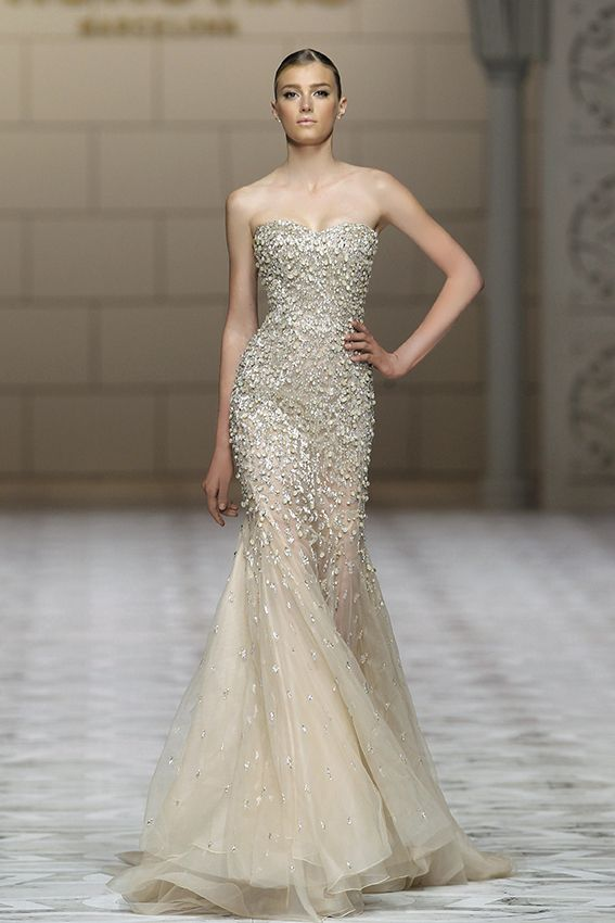 simple classic gown full with beaded