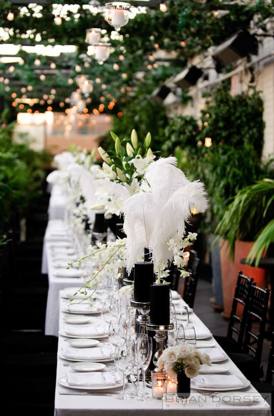 simple classic outdoor wedding table guest