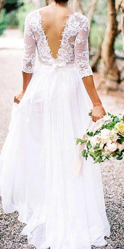 simple long-sleeve rustic wedding gown
