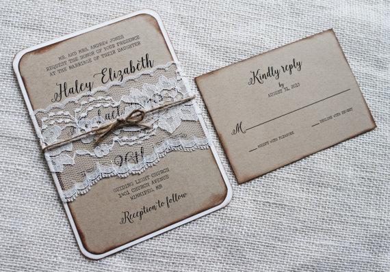 elegant rustic wedding card