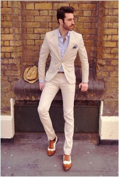 cream summer wedding suit