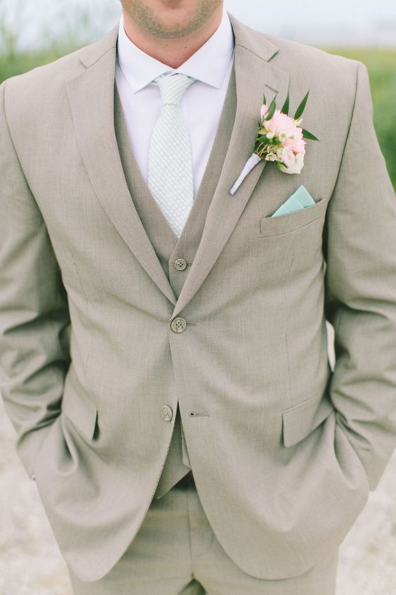 beige men wedding suit