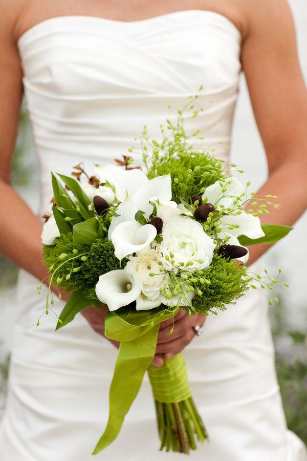 Calla-Lilies various-loose-green-cascade-bouquet