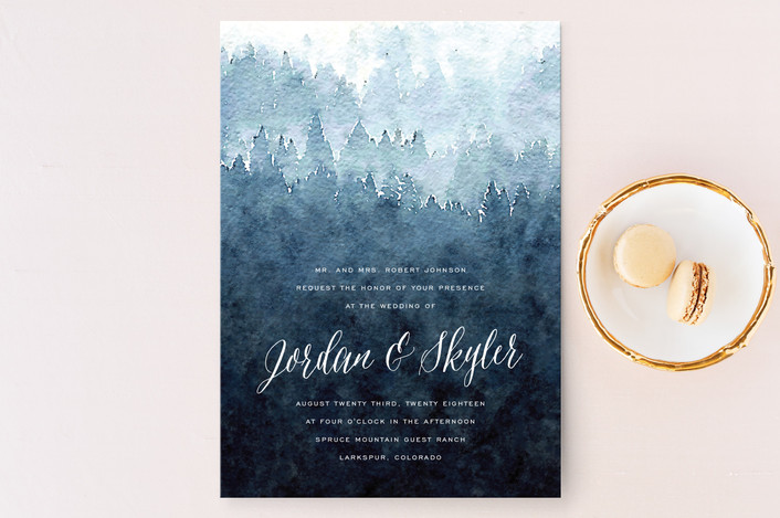mountain retreat wedding invitation