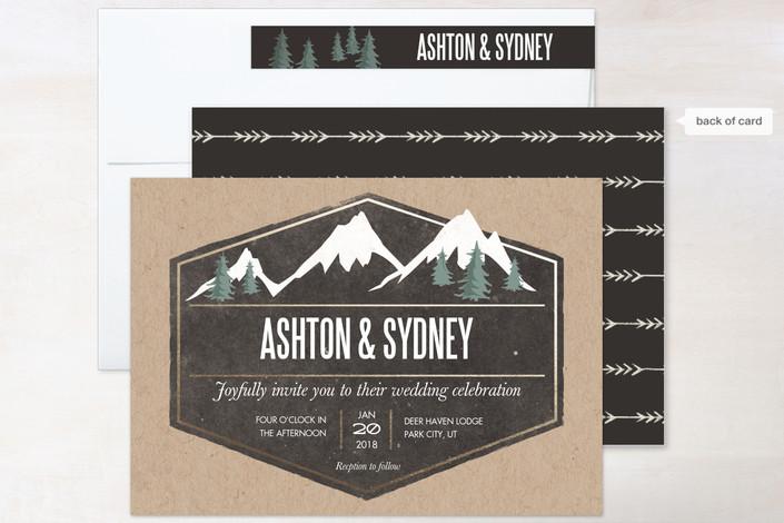 assemble of rustic wedding invitation