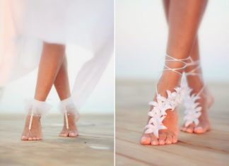 gorgeous wedding barefoot sandals